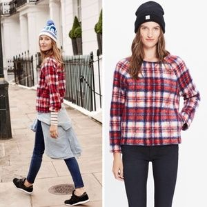 Madewell Fuzzy Brushed Plaid Pullover Top Sz Small